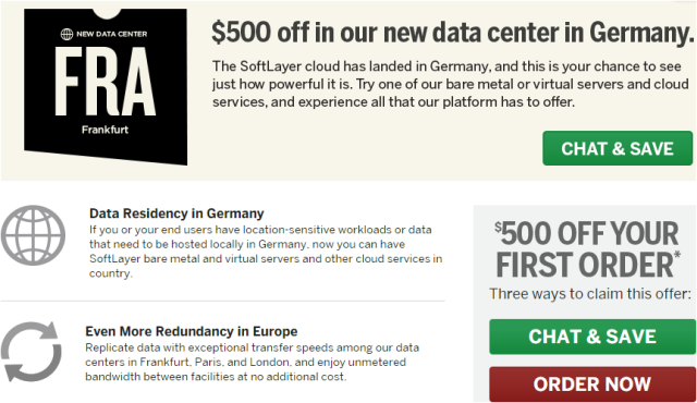 SoftLayer German data center offers $500 off