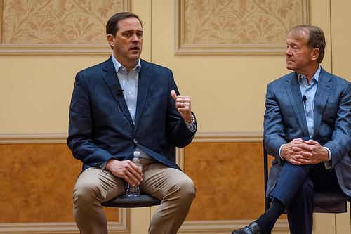 Cisco CEO Chuck Robbins with John Chambers