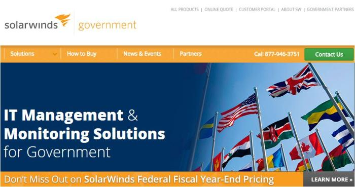 SolarWinds IT solutions for government