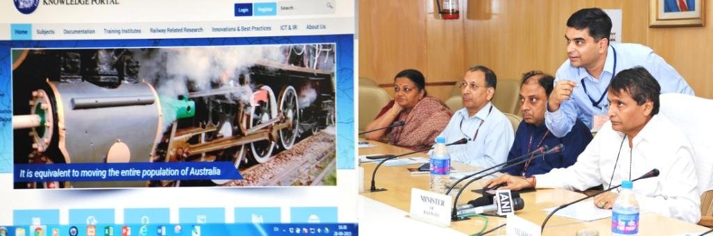 Suresh Prabhakar Prabhu launching the Indian Railway Knowledge Portal