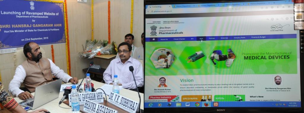 revamped website of Department of Pharmaceuticals