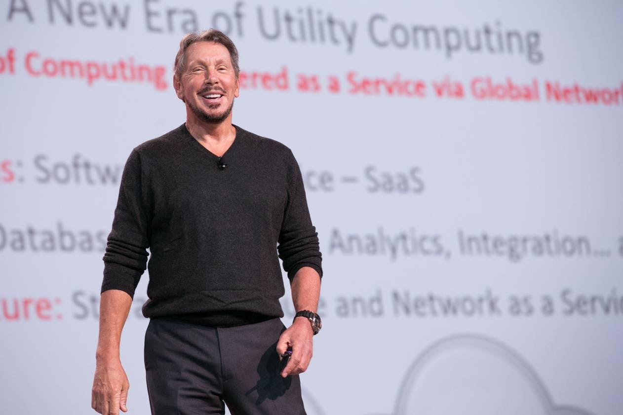 Oracle CTO Larry Ellison delivering his keynote address at Oracle OpenWorld 2015