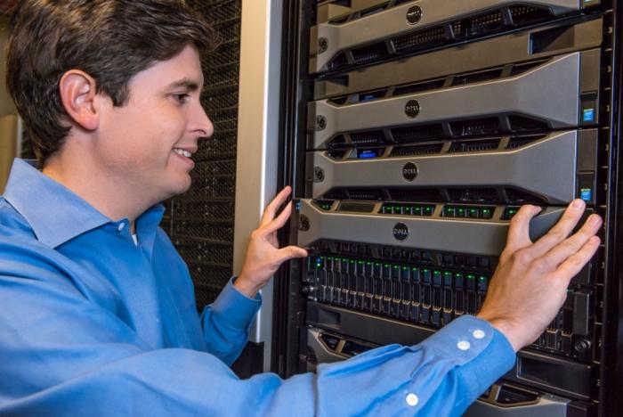 Travis Vigil, executive director, Dell Storage, with new Dell Storage SC9000