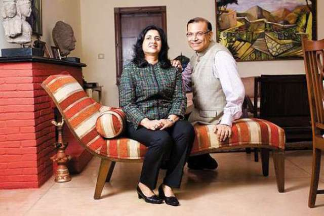 Infosys director Punita Sinha with husband