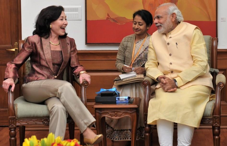 Oracle CEO Safra Catz and India PM Narendra Modi