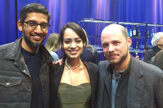 Devika Bhise with Google CEO Sundar Pichai post screening of The Man Who Knew Infinity