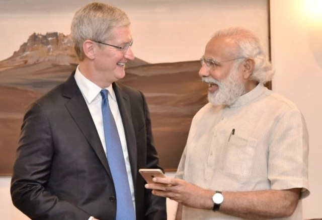Apple CEO Tim Cook and Prime Minister Narendra Modi
