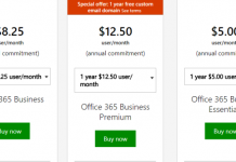 Microsoft Office pricing plan
