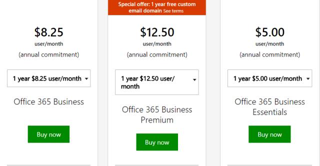 Microsoft Office pricing plan