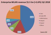 Enterprise WLAN revenue share Q2 2018